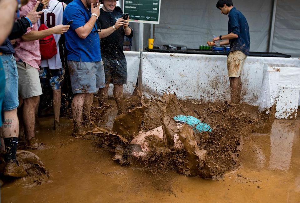The mud was plentiful at the Preakness. (Getty)
