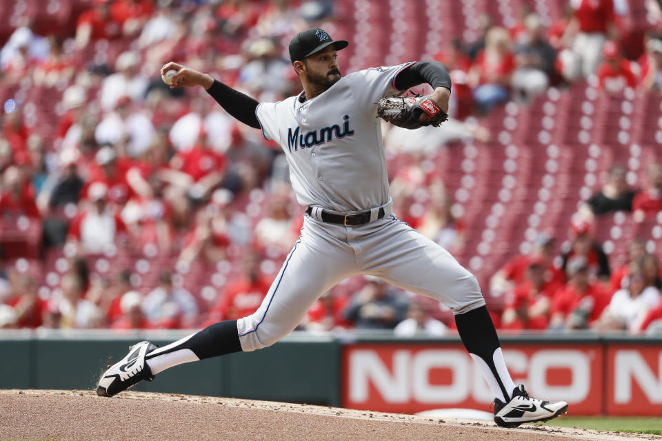 Miami Marlins starting pitcher Pablo Lopez throws in the first inning of a baseball game against the Cincinnati Reds, Thursday, April 11, 2019, in Cincinnati. (AP Photo/John Minchillo)