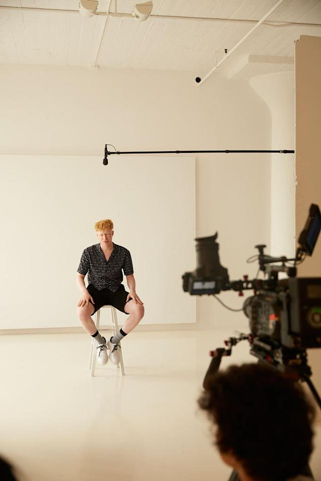 Ross poses behind the scenes for H&M Pride Out Loud campaign. (Photo: Courtesy of H&M)