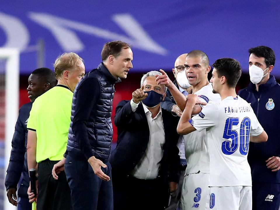 Thomas Tuchel (centre left) at full-time in Seville, where Chelsea defeated Porto over two legs (Getty Images)