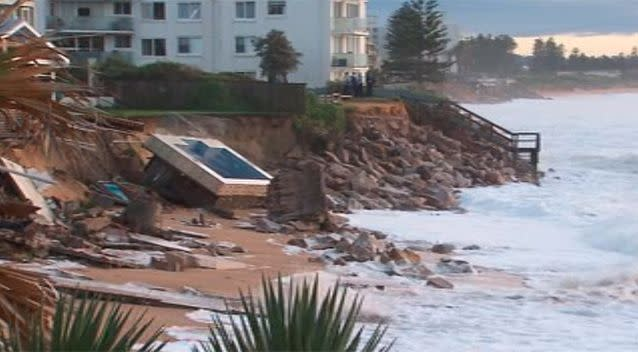 Ms Silk's neighbour's swimming pool was dragged from the garden towards the ocean. Photo: 7 News