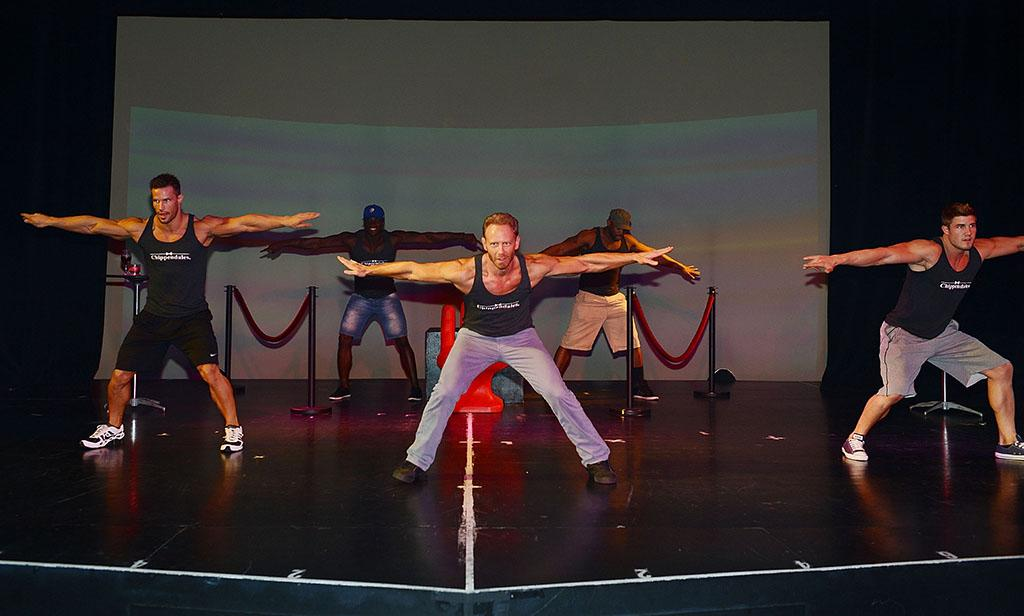 Ian Ziering (C) rehearses with the Las Vegas cast of Chippendales (L-R) Johnny Howes, Chaun Thomas, Bryan Cheatham and John Rivera at the Rio All-Suite Hotel and Casino on June 6, 2013 in Las Vegas, Nevada.
