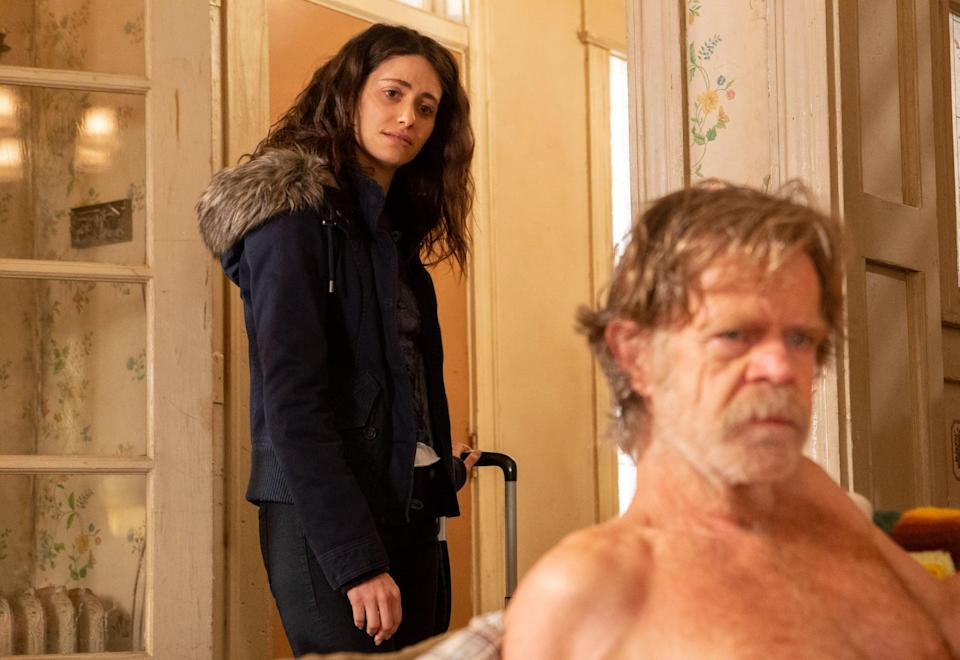 SHAMELESS, from left: Emmy Rossum, William H. Macy, 'Found', (Season 9, ep. 914, aired March 10, 2019), photo: Paul Sarkis / Showtime / courtesy Everett Collection
