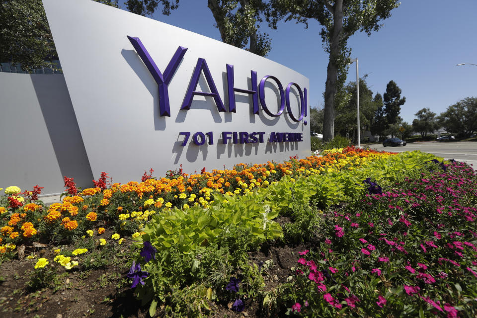 <p> FILE - This Tuesday, July 19, 2016 photo shows a Yahoo sign at the company's headquarters in Sunnyvale, Calif. On Wednesday, Dec. 14, 2016, Yahoo said it believes hackers stole data from more than one billion user accounts in August 2013. (AP Photo/Marcio Jose Sanchez) </p>