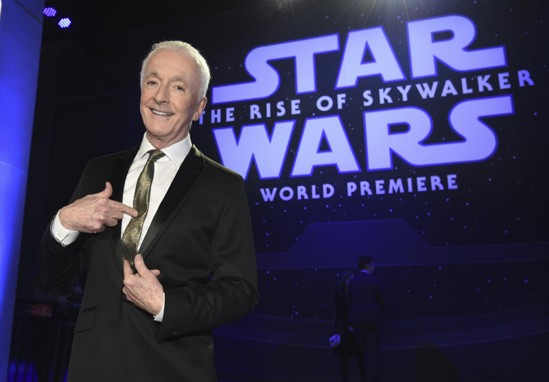 """Anthony Daniels arrives at the world premiere of """"Star Wars: The Rise of Skywalker"""" on Monday, Dec. 16, 2019, in Los Angeles (AP Photo/Chris Pizzello)"""