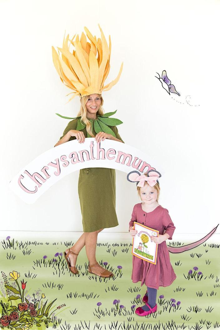 """<p>This whimsical costume is based on the children's book <a href=""""https://amzn.to/1VD146N"""" rel=""""nofollow noopener"""" target=""""_blank"""" data-ylk=""""slk:Chrysanthemum"""" class=""""link rapid-noclick-resp""""><em>Chrysanthemum</em></a>, about a little mouse who learns to love her unique name. You'll put the """"mum"""" in chrysanthemum, and your little girl can be the mouse of the same name.</p><p><strong>See more at <a href=""""https://thehousethatlarsbuilt.com/2015/10/chrysanthemum-mom-and-daughter-costume.html/"""" rel=""""nofollow noopener"""" target=""""_blank"""" data-ylk=""""slk:The House That Lars Built"""" class=""""link rapid-noclick-resp"""">The House That Lars Built</a>.</strong></p><p><a class=""""link rapid-noclick-resp"""" href=""""https://www.amazon.com/Lia-Griffith-6-7-Square-Cypress-LG11023/dp/B01JYSL6J2/ref=sr_1_1_sspa?tag=syn-yahoo-20&ascsubtag=%5Bartid%7C2164.g.37079496%5Bsrc%7Cyahoo-us"""" rel=""""nofollow noopener"""" target=""""_blank"""" data-ylk=""""slk:SHOP GREEN CREPE PAPER"""">SHOP GREEN CREPE PAPER</a></p>"""