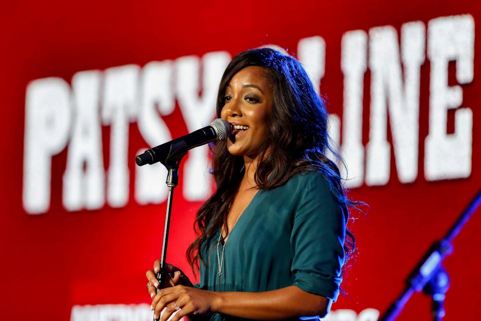 "Mickey Guyton performs at the PBS American Masters ""Patsy Cline"" panel at the Television Critics Association press tour Jan. 15, 2017, in Pasadena, Calif."