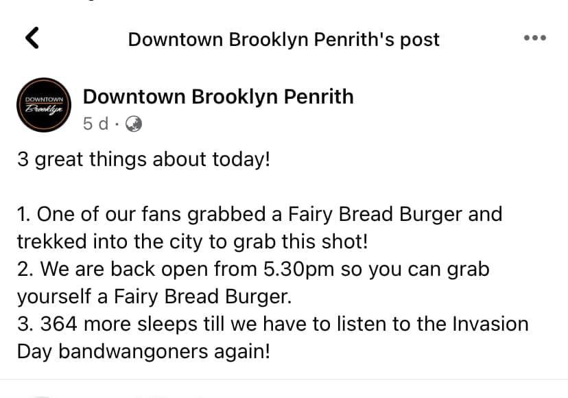 A Facebook post from Downtown Brooklyn Penrith calling Invasion Day supporters band wagoners.