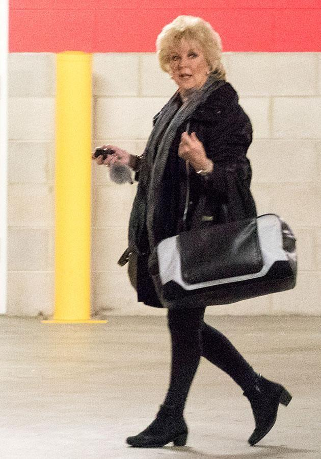Patti (pictured yesterday) looked stressed at the hospital. Source: Diimex