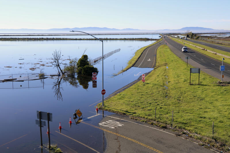 Storms preview sea-rise damage to California roads, cities