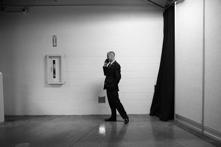 <p>Former campaign manager Corey Lewandowski fields a phone call in back corridors off the convention floor during the RNC Convention in Cleveland, OH on July 19, 2016. (Photo: Khue Bui for Yahoo News)</p>