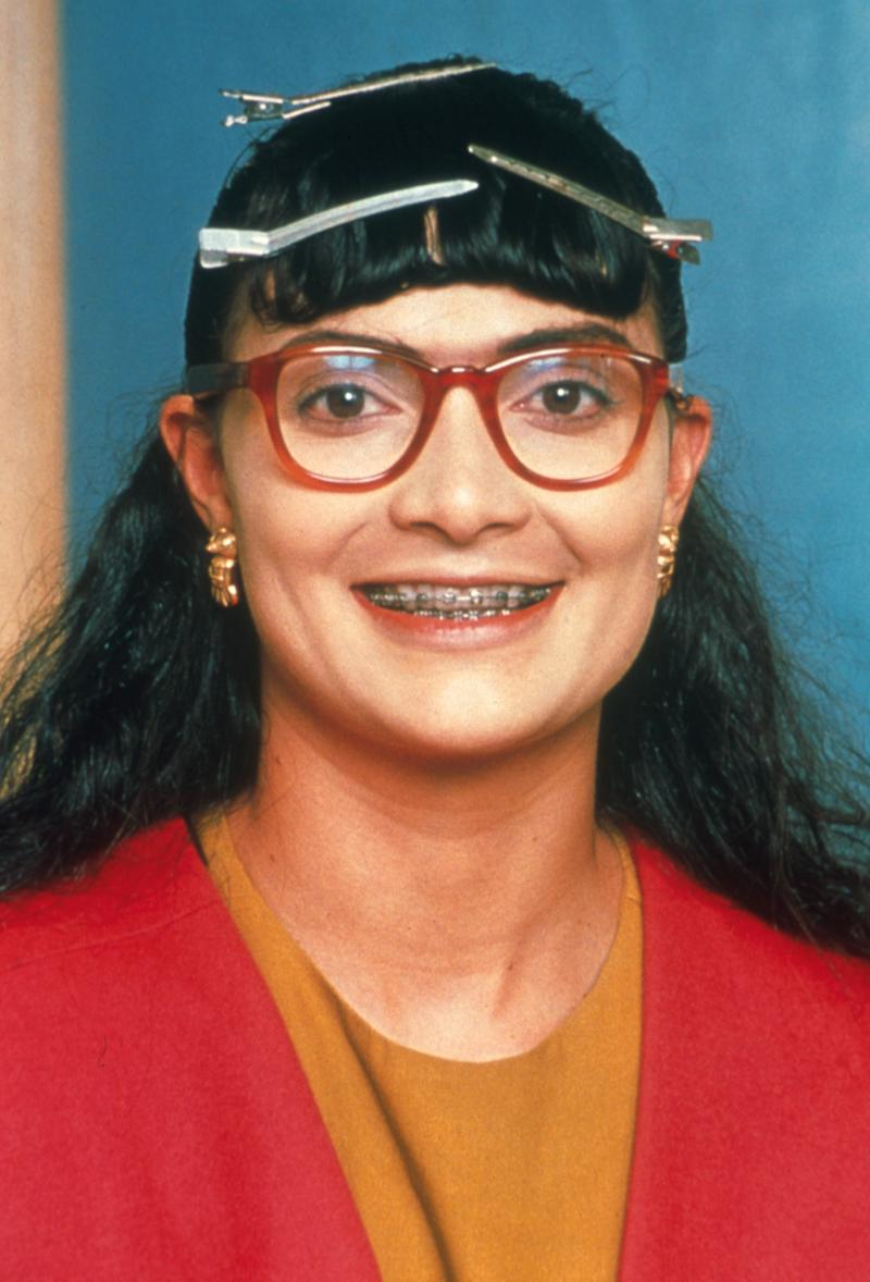 """386722 01: Actress Ana Maria Orozco poses for a portrait as her character Betty Pinzon in the Telemundo network comedy series """"Betty La Fea,"""" translated as """"Betty the Ugly,"""" for the year 2000."""