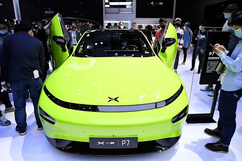 SHANGHAI, CHINA - APRIL 21:  A XPeng Motor P7 electric vehicle is on displayed during the 19th Shanghai International Automobile Industry Exhibition, also known as Auto Shanghai 2021, at National Exhibition and Convention Center (Shanghai) on April 21, 2021 in Shanghai, China.  (Photo by Zhe Ji/Getty Images)