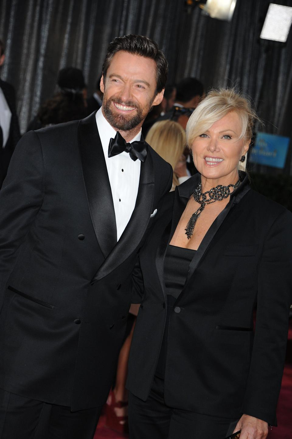 Actor Hugh Jackman and wife Deborah Lee Furness on the red carpet at the 85th Academy Awards (Oscars) held at the Dolby Theater in Hollywood. (Photo by Frank Trapper/Corbis via Getty Images)