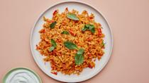 "This Persian rice dish, known as kateh gojeh farangi, is the ideal late-summer comfort food. The cinnamon tames the natural acidity of tomatoes, creating a sweet-savory aroma and flavor. This recipe is part of the 2020 Healthyish Farmers Market Challenge. Get all 8 recipes <a href=""https://bonappetit.com/collection/healthyish-farmers-market-challenge-2020"" rel=""nofollow noopener"" target=""_blank"" data-ylk=""slk:here"" class=""link rapid-noclick-resp"">here</a>. <a href=""https://www.bonappetit.com/recipe/buttery-tomato-cinnamon-rice?mbid=synd_yahoo_rss"" rel=""nofollow noopener"" target=""_blank"" data-ylk=""slk:See recipe."" class=""link rapid-noclick-resp"">See recipe.</a>"