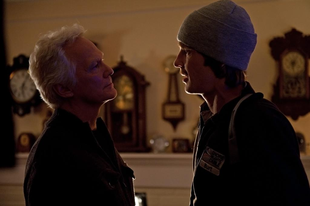 """Nolan (Gabriel Mann) confronts the White Haired Man (James Morrison) in the """"Grief"""" episode of """"Revenge.""""<br><br>Tune in to """"Revenge"""" this week to see what happens -- and be sure to download our super-cool TV app, IntoNow, and <a href=""""http://www.intonow.com//promo/revenge"""">enter our """"Revenge"""" sweepstakes</a> to win a luxury getaway in the Hamptons."""