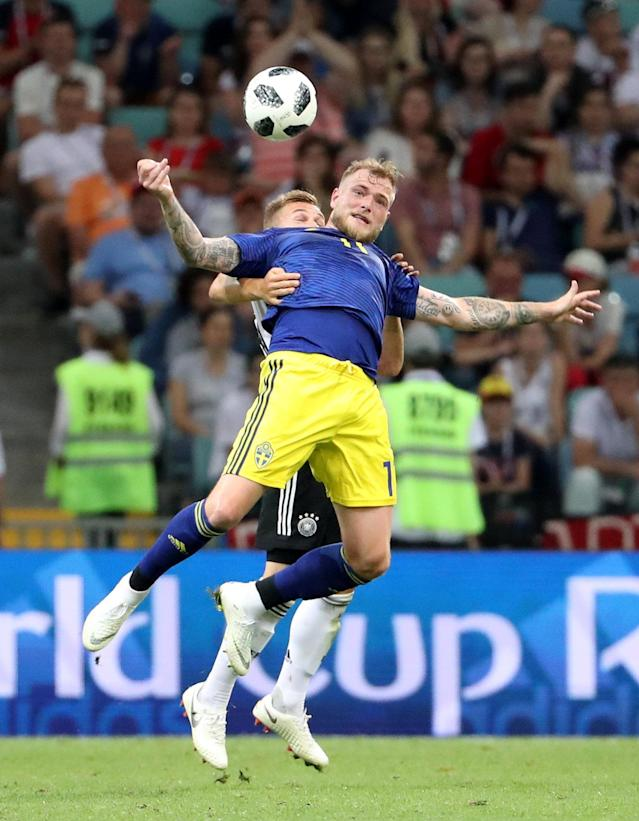 Soccer Football - World Cup - Group F - Germany vs Sweden - Fisht Stadium, Sochi, Russia - June 23, 2018 Sweden's John Guidetti in action with Germany's Joshua Kimmich REUTERS/Francois Lenoir