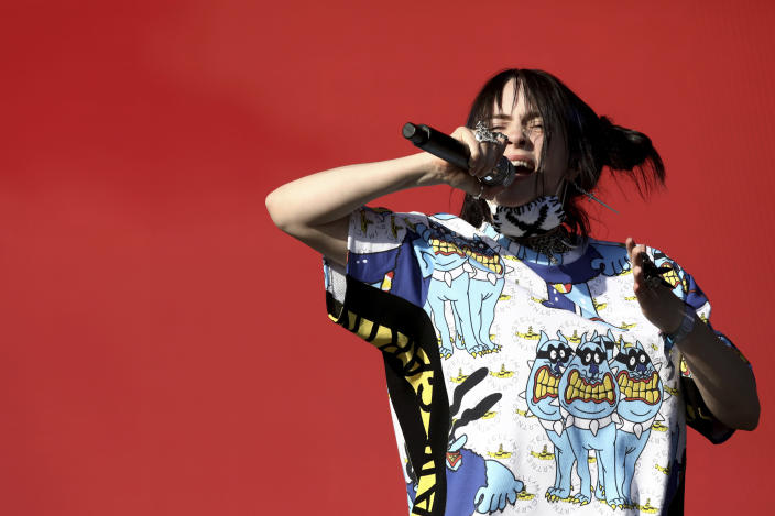 Musician Billie Eilish performs at the Glastonbury Festival at Worthy Farm, Somerset, England, on June 30, 2019. (Photo by Grant Pollard/Invision/AP)