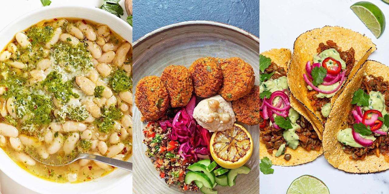 """<p>Thinking about going <a href=""""https://www.delish.com/uk/cooking/recipes/a29572043/vegan-breakfast/"""" target=""""_blank"""">vegan</a>, or at least cutting back on meat? Or maybe you're already vegan and looking for some inspo on new dishes? Either way, this selection of tasty, easy and downright healthy vegan recipes will most certainly help you make some all important dinner decisions. You seriously won't be able to tell the difference with these meat-free, vegan recipes. Give 'em a go!</p>"""
