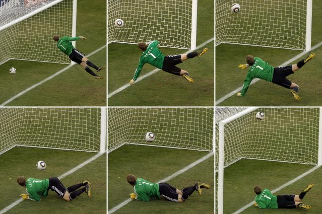 FILE - In this June 27, 2010 file photo made from a combination of six photos, Germany's goalkeeper Manuel Neuer looks at a ball that hit the bar to bounce over the line during the World Cup second round soccer match between Germany and England at Free State Stadium, in Bloemfontein, South Africa. The future use of technology at the World Cup was effectively sealed after a clear Frank Lampard goal was not given. Germany went on to win the game 4-1. The 21st World Cup begins on Thursday, June 14, 2018, when host Russia takes on Saudi Arabia. (AP Photo/Alessandra Tarantino, file)