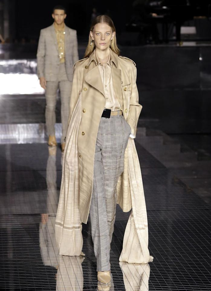 <p>Memories inspired Riccardo Tisci's latest for Burberry, and his Fall 2020 array was a mashup of his recollections with the heritage, history, and codes of the brand. Tisci hearkened back to the early stages of his own career for inspiration, along with the cities he'd visited and people he'd met as a young designer, to assemble his array of mens and womenswear that still felt new despite being so based in the old. The show was a feast of celebrity models, with Bella, Gigi, Kendall, Joan, Irina, and more making their first and only runway appearances this week. In the mix, standouts included new riffs, shades, and combos of the brand's classic plaid, fresh takes on uniforms—from suits to schoolkid streetwear—and, come the finale, a whole lot of sparkle. </p>