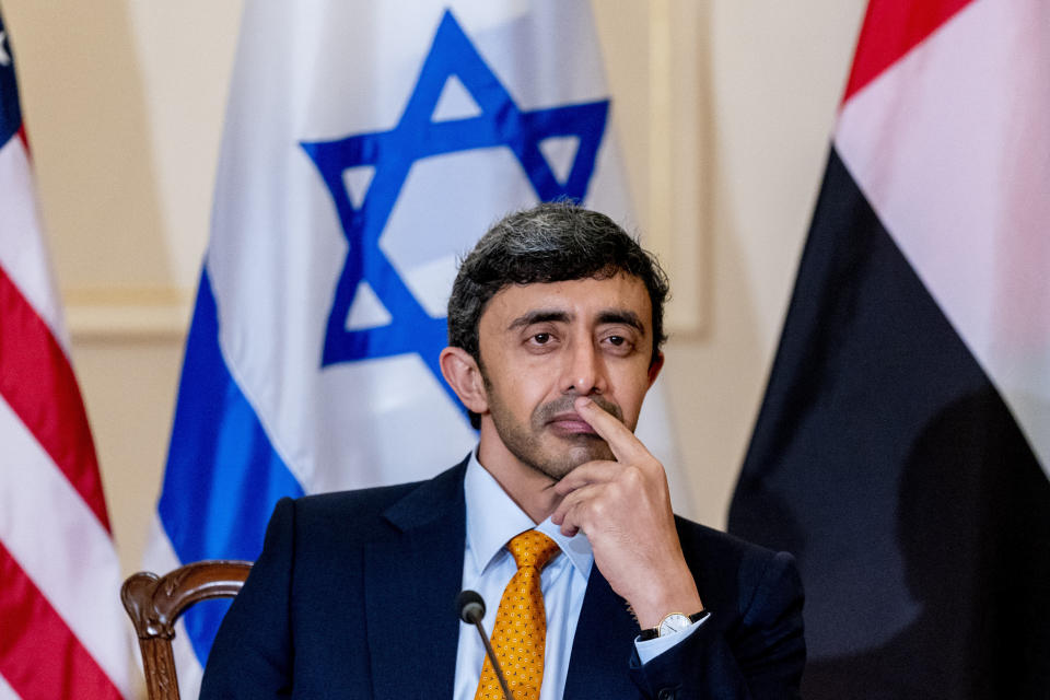 United Arab Emirates Foreign Minister Sheikh Abdullah bin Zayed al-Nahyanin appears during a joint news conference with Secretary of State Antony Blinken and Israeli Foreign Minister Yair Lapid at the State Department in Washington, Wednesday, Oct. 13, 2021. (AP Photo/Andrew Harnik, Pool)