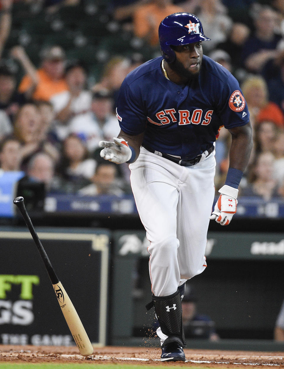 Houston Astros designated hitter Yordan Alvarez watches his two-run double during the first inning of a baseball game against the Seattle Mariners, Sunday, June 30, 2019, in Houston. (AP Photo/Eric Christian Smith)
