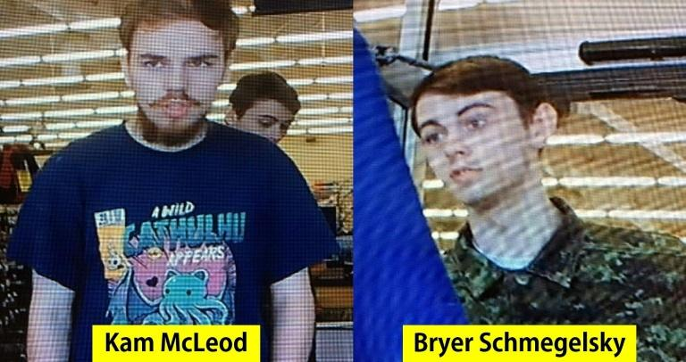 Kam McLeod, 19, and Bryer Schmegelsky, 18, are pictured in these images released by the Royal Canadian Mounted Police
