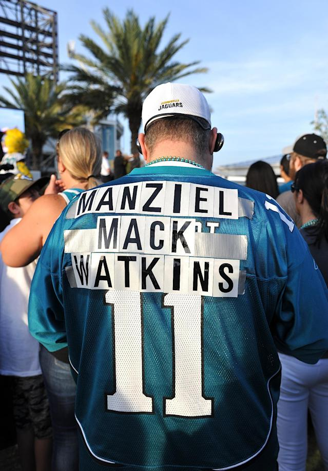 Steve Shaw, 20-year Jaguar season ticket holder, wears the names of his draft choices at the Jacksonville Jaguars' 2014 NFL Draft Party at EverBank Field on Thursday May 8, 2014, in Jacksonville, Fla. (AP Photo/Florida Times-Union/Bruce Lipsky)