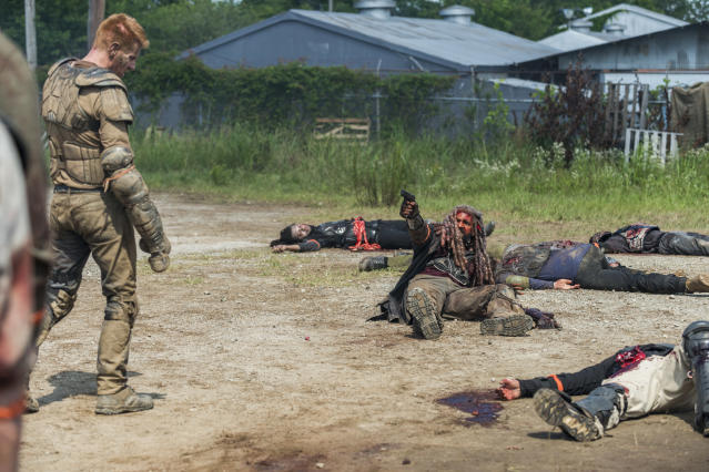 <p>Khary Payton as Ezekiel and Daniel Newman as Daniel in AMC's <i>The Walking Dead.><br> (Photo: Gene Page/AMC)</i> </p>