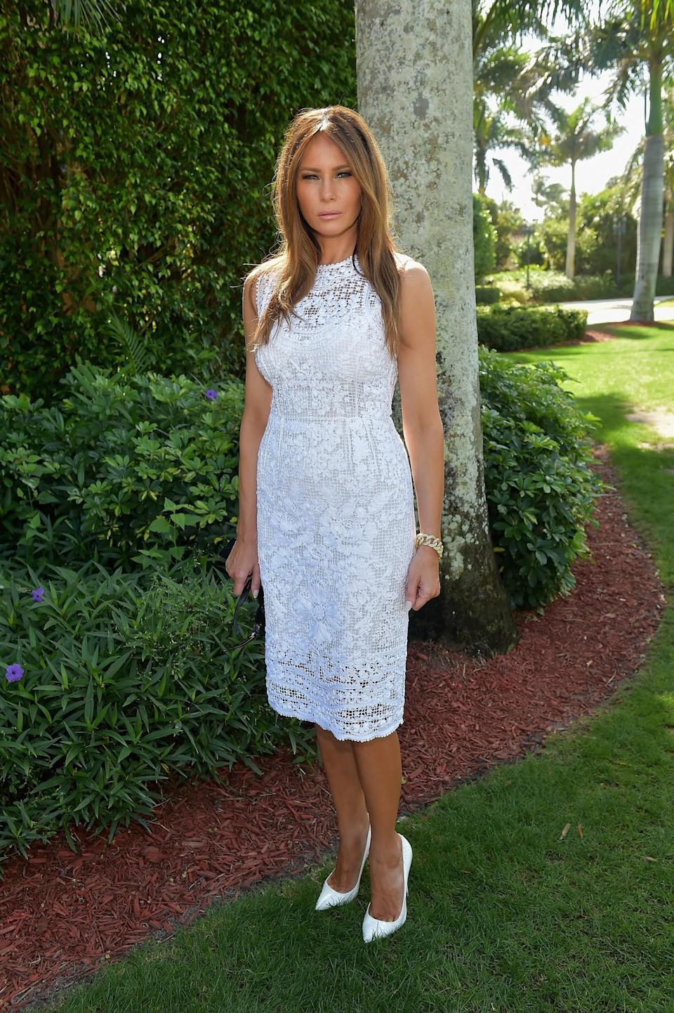 <p>A summery broderie anglaise dress was seen on Melania at a Trump event. She paired the look with her favoured white heels. <i>[Photo: Getty]</i> </p>