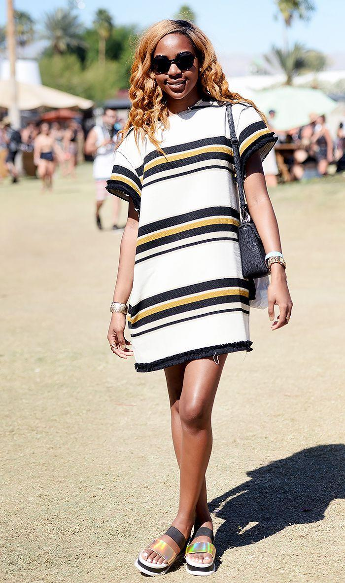 You can't go wrong with a striped T-shirt dress paired with metallic sandals.