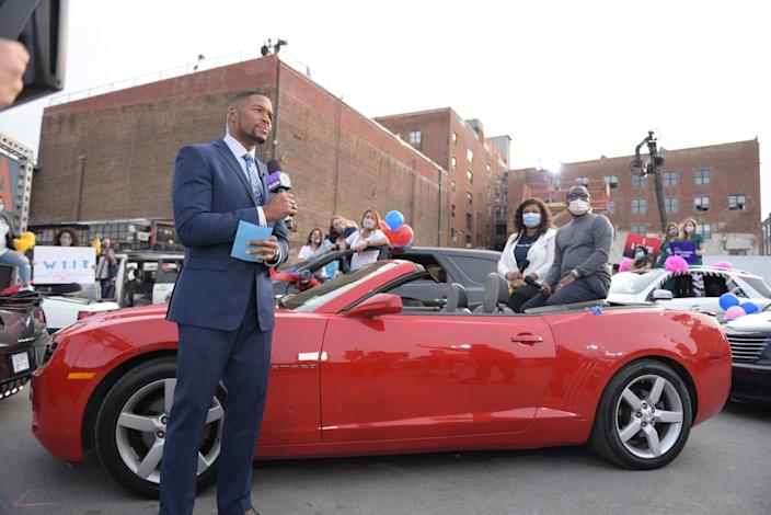 """GMA"" co-host Michael Strahan hosting a drive-in Alicia Keys concert on the ABC morning program last summer."