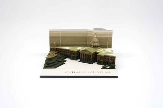 <p> The Japanese company recently launched the memo pads that hide the mini version of the art museum in southern Taiwan (Courtesy of Chimei Museum)</p>