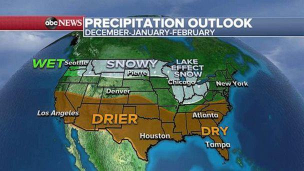 PHOTO: The precipitation outlook for this winter December, January and February. (ABC News)