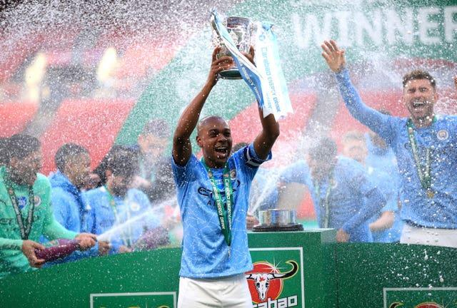 Manchester City celebrated victory in front of 2,000 of their supporters at Wembley