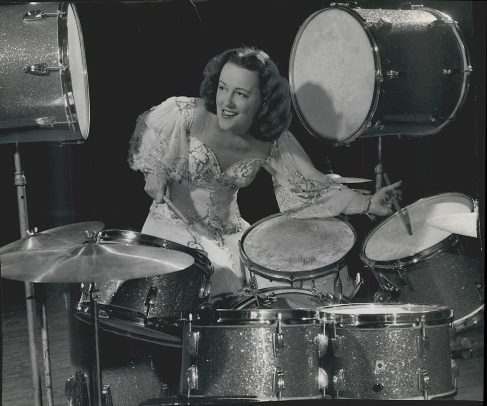 """Viola Smith, one of the world's first female drummers, pictured here in 1948, died Oct. 21 in Costa Mesa, Calif., one month before her 108th birthday. Smith got her start in the late '20s playing in her family band, the Schmitz Sisters Family Orchestra, with five older sisters, and in the 1930s was billed as the """"world's fastest girl drummer.""""She played drums alongside Billie Holiday, in the 1945 film """"Here Come the Co-Eds,"""" on """"The Ed Sullivan Show"""" and at President Harry Truman's inauguration in 1949. She told Tom Tom magazine the highlight of her music career was playing in the Kit Kat Band in the original Broadway production of """"Cabaret"""" in 1966."""