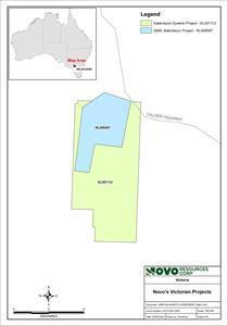 Map showing Kalamazoo's Queens Project in relation to GBM Resources Limited's Malmsbury Project.
