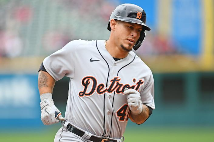 Detroit Tigers catcher Wilson Ramos (40) rounds the bases after hitting a home run during the seventh inning April 11, 2021, against Cleveland at Progressive Field.
