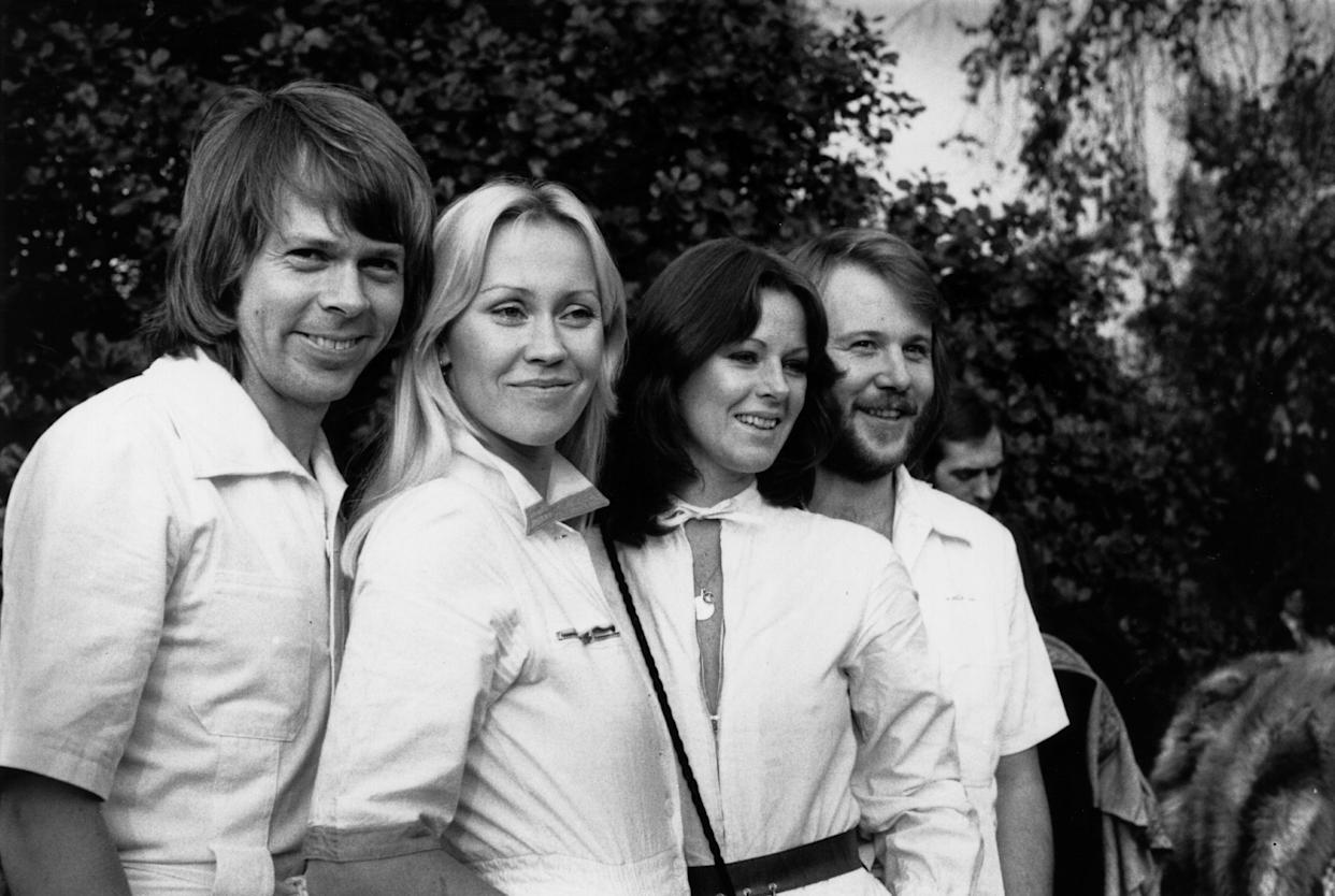 16th November 1976:  Swedish pop group Abba in London.  (Photo by Angela Deane-Drummond/Evening Standard/Getty Images)