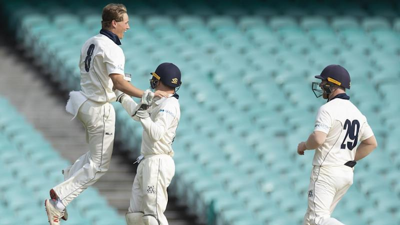 Debutant leggie Wil Parker (L) has put Victoria in a strong position in the Shield match with NSW