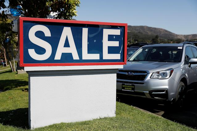 A sale sign is seen at car dealer Serramonte Subaru in Colma, California, U.S., October 3, 2017. REUTERS/Stephen Lam