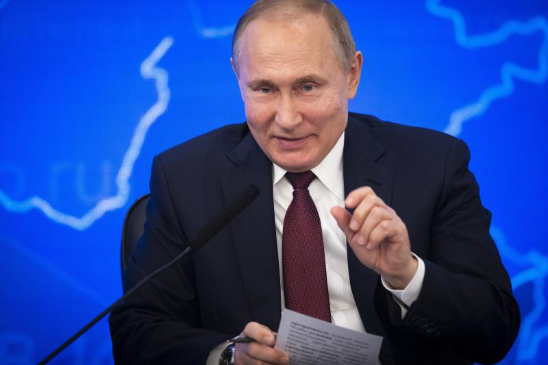 Russian President Vladimir Putin gestures while speakingh at a meeting of the Russian Union of Industrialists and Entrepreneurs in Moscow, Russia, Thursday, March 14, 2019. Putin urged the business community to engage more actively in major infrastructure projects and vowed to create more incentives and help reduce investment risks. (AP Photo/Alexander Zemlianichenko)