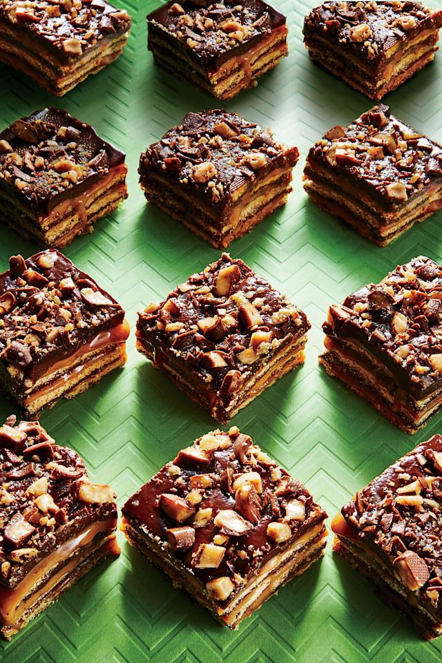 """<p>These gooey bars will be your new favorite no-bake cookie. Serve chilled for less mess.</p> <p><a href=""""https://www.myrecipes.com/recipe/no-bake-fudgy-toffee-bars"""">No-Bake Fudgy Toffee Bars Recipe</a></p>"""