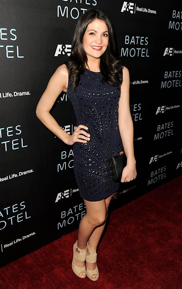 """Jenna Romanin arrives at the premiere of A&E Network's """"Bates Motel"""" at Soho House on March 12, 2013 in West Hollywood, California."""