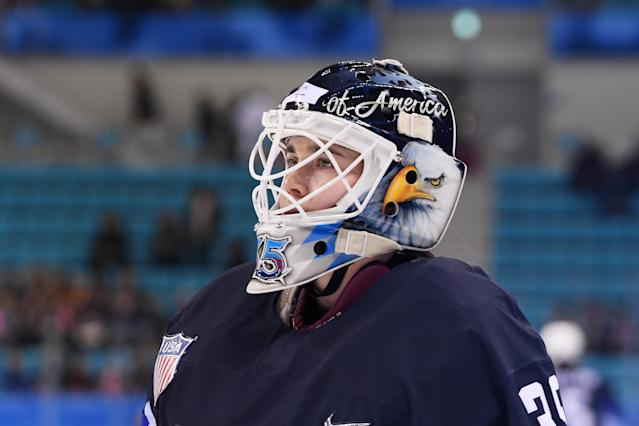 Team USA goalie Maddie Rooney looks on during the Ice Hockey Women Play-offs Semifinals on day 10 of the PyeongChang 2018 Winter Olympic Games at Gangneung Hockey Centre on February 19, 2018 in Pyeongchang-gun, South Korea.