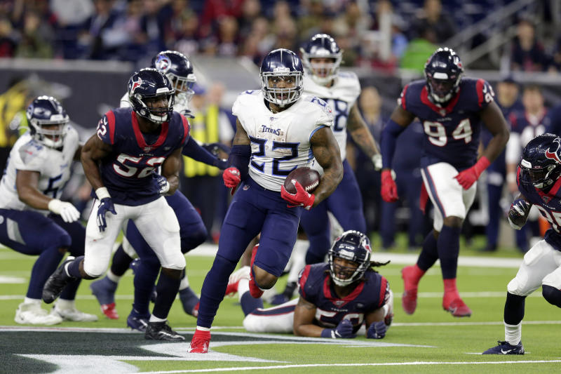 Tennessee Titans running back Derrick Henry (22) breaks away for a 53-yard touchdown run during the second half of an NFL football game Sunday, Dec. 29, 2019, in Houston. The run moved Henry into first place for the season rushing title. The Titans won 35-14. (AP Photo/Michael Wyke)