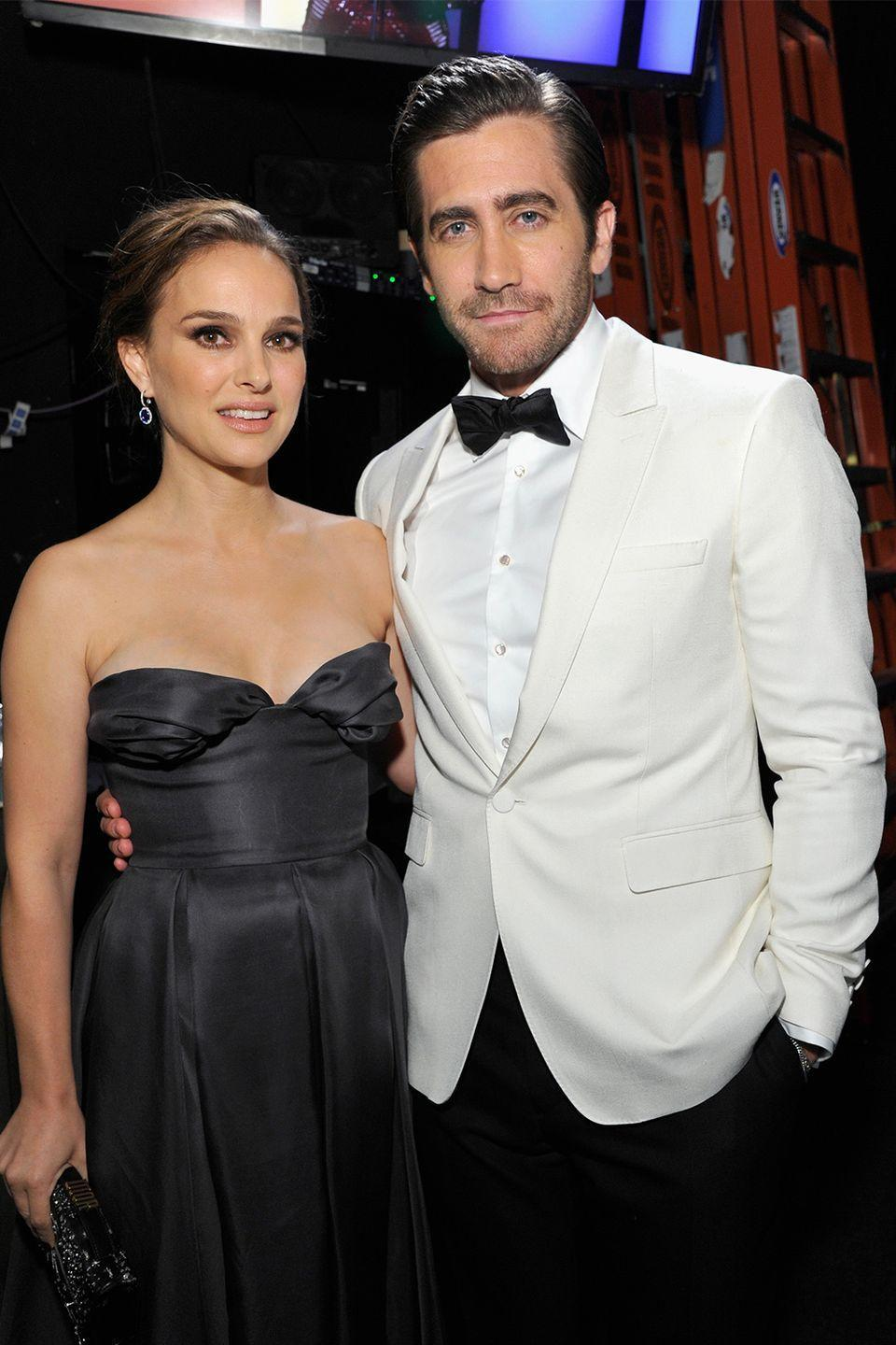 """<p>Back in 2006, Natalie Portman and Jake Gyllenhaal had a brief romance. Despite their split, they remain friends to this day, and he's even joked about what it was like dating the<em> Black Swan</em> star.</p><p>""""She's a vegan, which makes it really frustrating when you're picking a place to eat,"""" he joked when presenting her the """"<a href=""""https://www.eonline.com/news/219592/natalie-portman-flashes-her-bling-in-palm-springs"""" rel=""""nofollow noopener"""" target=""""_blank"""" data-ylk=""""slk:Desert Palm Achievement Award"""" class=""""link rapid-noclick-resp"""">Desert Palm Achievement Award</a>"""" in 2011—though it's likely that's not why they broke up. <br></p>"""