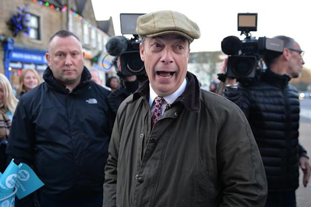 Brexit Party leader Nigel Farage during a visit to Bolsover during the election campaign. (PA Images)
