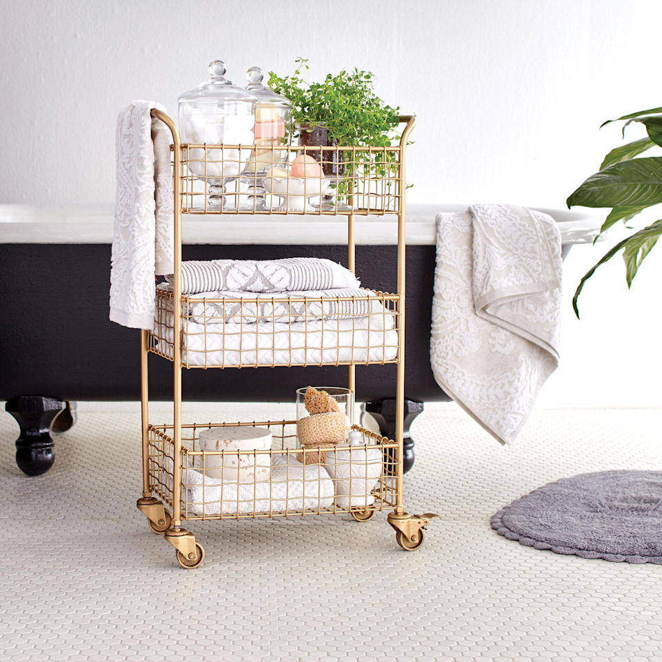 "<h3><a href=""https://www.worldmarket.com/product/gold-wire-antonia-rolling-cart.do"" rel=""nofollow noopener"" target=""_blank"" data-ylk=""slk:World Market 3 Tier Gold Wire Basket Rolling Cart"" class=""link rapid-noclick-resp"">World Market 3 Tier Gold Wire Basket Rolling Cart</a></h3><br><strong>When your office is your bedroom/dining room</strong>: This elegant rolling cart looks just as smart in your bedroom as it would in an office setting. It can hold anything from hardware to pantry goods or both, of course.<br><br><strong>World Market</strong> Gold Wire Basket 3 Tier Antonia Rolling Cart, $, available at <a href=""https://go.skimresources.com/?id=30283X879131&url=https%3A%2F%2Fwww.worldmarket.com%2Fproduct%2Fgold-wire-antonia-rolling-cart.do"" rel=""nofollow noopener"" target=""_blank"" data-ylk=""slk:World Market"" class=""link rapid-noclick-resp"">World Market</a>"